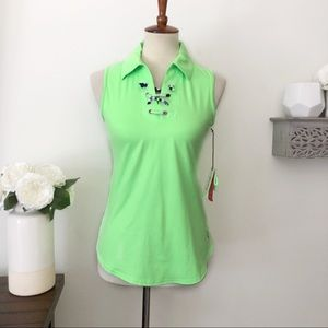 Jofit lace up neck sleeveless golf top lime green